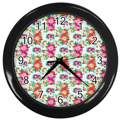 Floral Flower Pattern Seamless Wall Clocks (black)