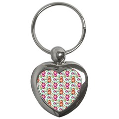 Floral Flower Pattern Seamless Key Chains (Heart)