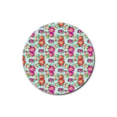 Floral Flower Pattern Seamless Rubber Round Coaster (4 Pack)