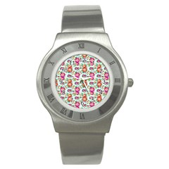 Floral Flower Pattern Seamless Stainless Steel Watch