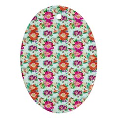 Floral Flower Pattern Seamless Oval Ornament (Two Sides)