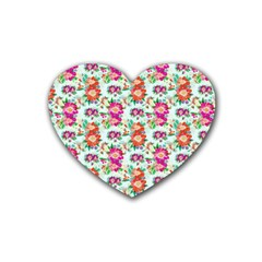 Floral Flower Pattern Seamless Rubber Coaster (heart)