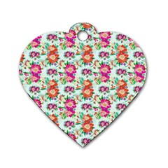 Floral Flower Pattern Seamless Dog Tag Heart (one Side)