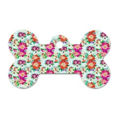 Floral Flower Pattern Seamless Dog Tag Bone (two Sides)