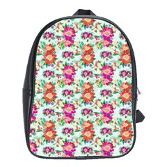 Floral Flower Pattern Seamless School Bags(Large)