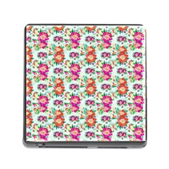 Floral Flower Pattern Seamless Memory Card Reader (Square)