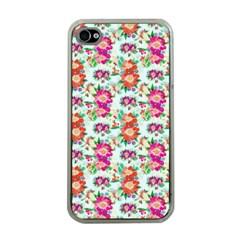 Floral Flower Pattern Seamless Apple iPhone 4 Case (Clear)