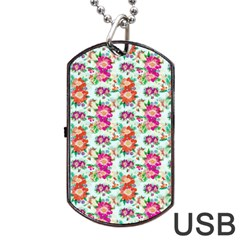 Floral Flower Pattern Seamless Dog Tag Usb Flash (two Sides)