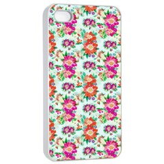 Floral Flower Pattern Seamless Apple iPhone 4/4s Seamless Case (White)