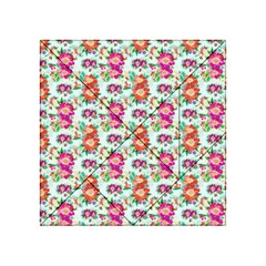 Floral Flower Pattern Seamless Acrylic Tangram Puzzle (4  x 4 )