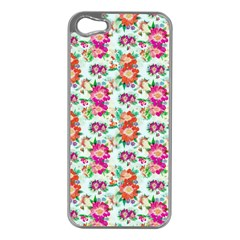 Floral Flower Pattern Seamless Apple iPhone 5 Case (Silver)