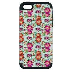 Floral Flower Pattern Seamless Apple iPhone 5 Hardshell Case (PC+Silicone)