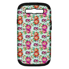 Floral Flower Pattern Seamless Samsung Galaxy S III Hardshell Case (PC+Silicone)