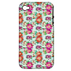 Floral Flower Pattern Seamless Apple iPhone 4/4S Hardshell Case (PC+Silicone)