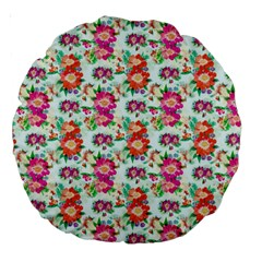 Floral Flower Pattern Seamless Large 18  Premium Round Cushions