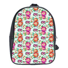 Floral Flower Pattern Seamless School Bags (XL)