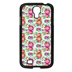 Floral Flower Pattern Seamless Samsung Galaxy S4 I9500/ I9505 Case (Black)
