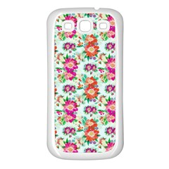 Floral Flower Pattern Seamless Samsung Galaxy S3 Back Case (White)