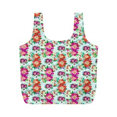 Floral Flower Pattern Seamless Full Print Recycle Bags (M)