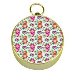 Floral Flower Pattern Seamless Gold Compasses