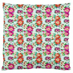 Floral Flower Pattern Seamless Large Flano Cushion Case (Two Sides)