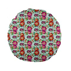 Floral Flower Pattern Seamless Standard 15  Premium Flano Round Cushions