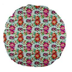 Floral Flower Pattern Seamless Large 18  Premium Flano Round Cushions