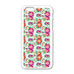 Floral Flower Pattern Seamless Apple iPhone 6/6S White Enamel Case