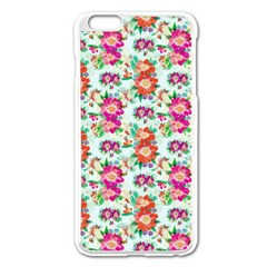Floral Flower Pattern Seamless Apple iPhone 6 Plus/6S Plus Enamel White Case