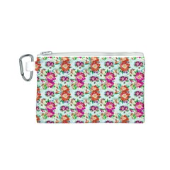 Floral Flower Pattern Seamless Canvas Cosmetic Bag (S)