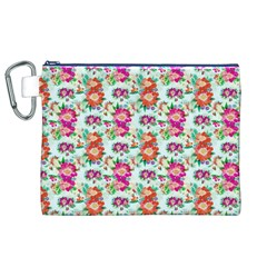 Floral Flower Pattern Seamless Canvas Cosmetic Bag (XL)