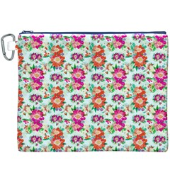 Floral Flower Pattern Seamless Canvas Cosmetic Bag (XXXL)