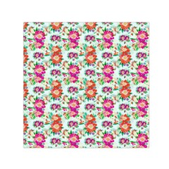 Floral Flower Pattern Seamless Small Satin Scarf (Square)