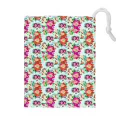 Floral Flower Pattern Seamless Drawstring Pouches (Extra Large)