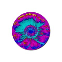 Retro Colorful Decoration Texture Rubber Round Coaster (4 pack)