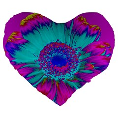 Retro Colorful Decoration Texture Large 19  Premium Flano Heart Shape Cushions