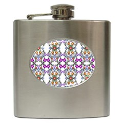 Floral Ornament Baby Girl Design Hip Flask (6 oz)