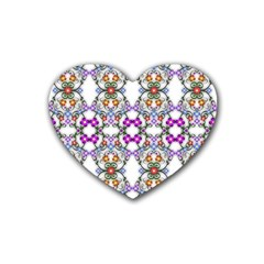 Floral Ornament Baby Girl Design Heart Coaster (4 Pack)