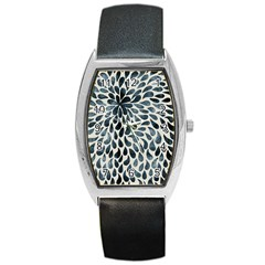 Abstract Flower Petals Floral Barrel Style Metal Watch