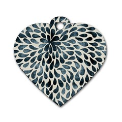 Abstract Flower Petals Floral Dog Tag Heart (one Side)