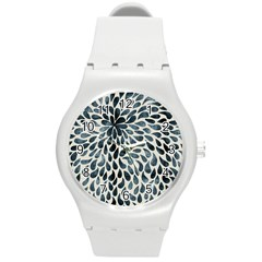 Abstract Flower Petals Floral Round Plastic Sport Watch (M)