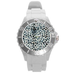 Abstract Flower Petals Floral Round Plastic Sport Watch (l)