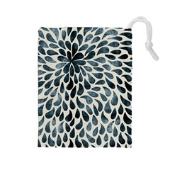 Abstract Flower Petals Floral Drawstring Pouches (Large)