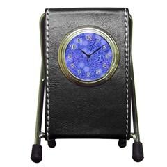 Retro Flower Pattern Design Batik Pen Holder Desk Clocks