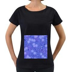 Retro Flower Pattern Design Batik Women s Loose Fit T Shirt (black)