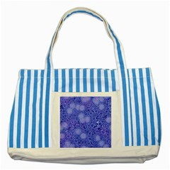Retro Flower Pattern Design Batik Striped Blue Tote Bag
