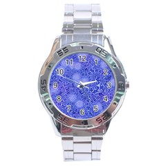 Retro Flower Pattern Design Batik Stainless Steel Analogue Watch