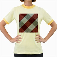 Textile Geometric Retro Pattern Women s Fitted Ringer T Shirts