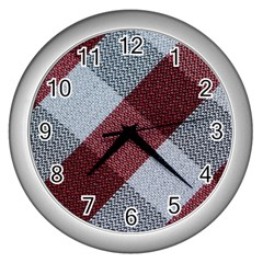 Textile Geometric Retro Pattern Wall Clocks (silver)