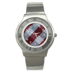 Textile Geometric Retro Pattern Stainless Steel Watch